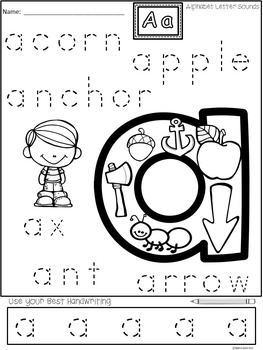 A+ Alphabet Handwriting Practice...A to Z Letter Sounds