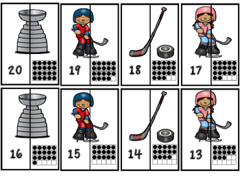 Alphabet Letter Matching A-Z and Numbers 1-20 (Ten Frame) Matching Hockey