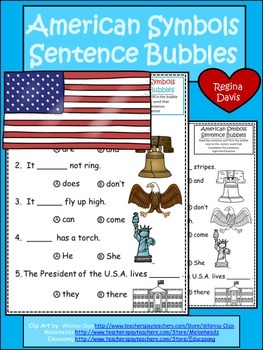 A+ American Symbols: Fill In the Blank.Multiple Choice Sight Word Sentences
