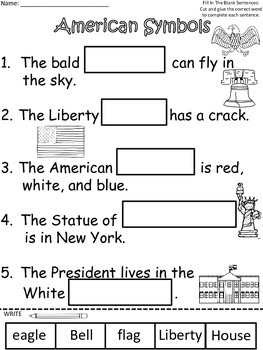 A+ American Symbols Sentences: Fill In The Blank