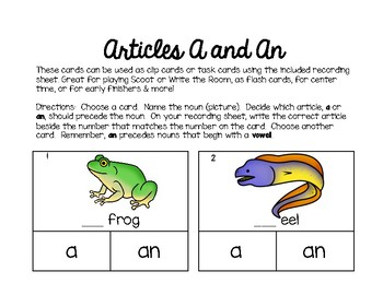 A & An Articles Task Cards - Colorful & Engaging Clip Cards w/Recording Sheet