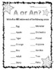 A, An & The. Article Adjectives. Worksheets