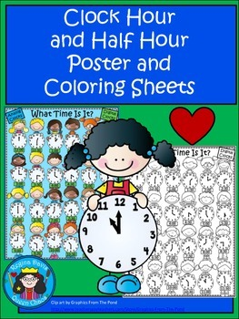 A+ Analog Clock & Digital Clock Poster (Hour and Half Hour) With Coloring Sheet