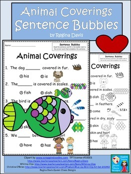 A+ Animal Coverings:Fill In the Blank.Multiple Choice Sight Word Sentences