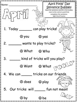 A+ April Fools' Day: Fill In the Blank.Multiple Choice Sight Word Sentences