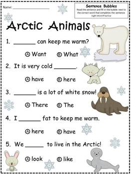 A+ Arctic Animals:Fill In the Blank.Multiple Choice Sight Word Sentences