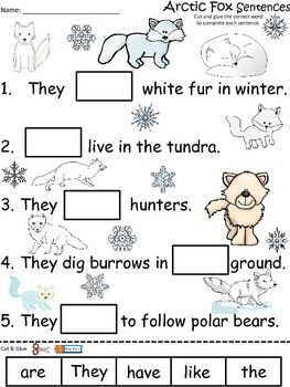 A+ Arctic Fox Sentences: Fill In The Blank