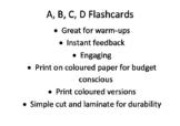 A B C D multiple choice feedback flashcards