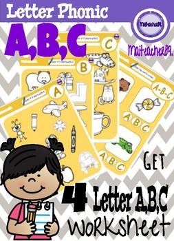 A,B,C Letter Recognition Worksheets