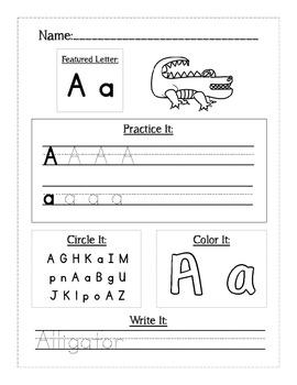 Handwriting Alphabet Letter Workbook or Worksheets