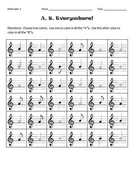 A, B, Everywhere!  (Treble Clef Identifying A and B)