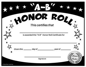 A-B Honor Roll Certificate (Black/White Stars) - Editable