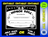 A-B Honor Roll Certificate (Black/White Stars) - Editable