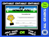A-B Honor Roll Certificate - Editable