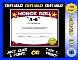 A-B Honor Roll Certificate Gold Stars - Editable