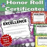 Honor Roll Certificates   Semi-Editable   DIGITAL and Pape