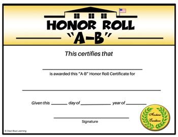 A-B Honor Roll Certificate (Schoolhouse) - Editable