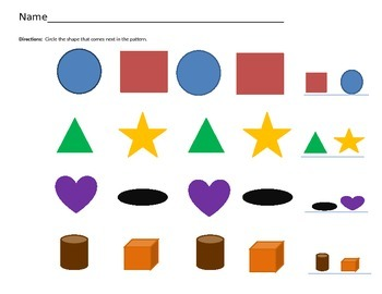 A B Pattern With Colors and Shapes