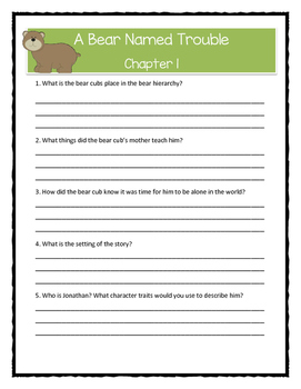 A BEAR NAMED TROUBLE by Marion Dane Bauer Comprehension & Citing Evidence