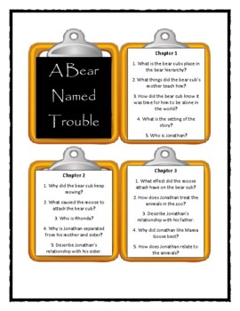 A BEAR NAMED TROUBLE by Marion Dane Bauer - Discussion Cards