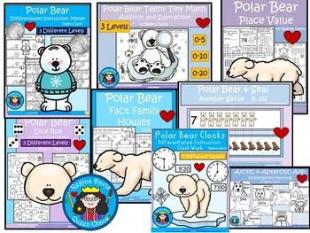 A+  BUNDLE:  Polar Bear Pack...Language Arts and Math Pack