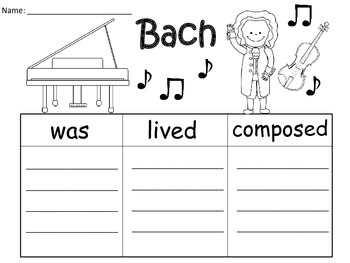 A+  Bach... Three Graphic Organizers