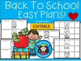 A+ Back To School Easy Plans: Editable Papers