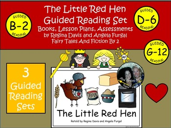 A+ Little Red Hen Guided Reading Set-3 Books, Lesson Plans, Assessments