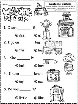 A+ Back To School: Fill In the Blank.Multiple Choice Sight Word Sentences