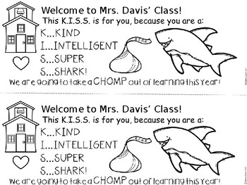 A+ Back To School Shark Note...EDITABLE....Welcome Your Class With A Candy Kiss!