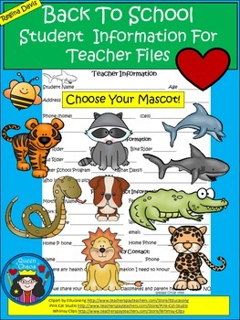 A+ Back To School: Student Information For Teacher Files