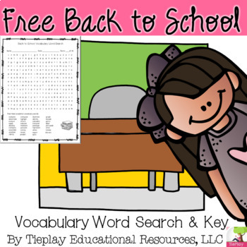 FREE A Back to School Word Search Vocabulary English Language Arts Worksheet