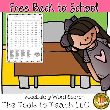 FREE A Back to School Word Search Freebie