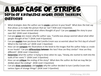 A Bad Case of Stripes Book Companion and Reading Activities Bundle