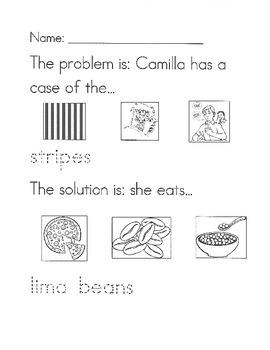 A Bad Case of Stripes problem/solution worksheet