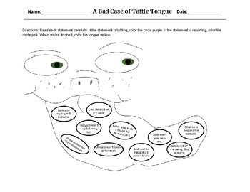 Tattle Tongue Coloring Worksheets & Teaching Resources | TpT