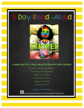 A Bad Case of The Stripes 5 Day Read Aloud Lesson Plan & Activities