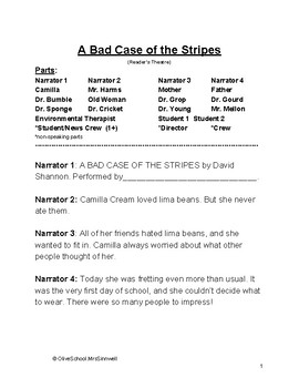 A Bad Case of the Stripes- Reader's Theatre