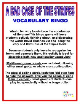 A Bad Case of the Stripes Vocabulary Bingo