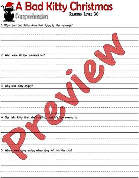 A Bad Kitty Christmas : Reading Comprehension Book Study : LINED PAPER