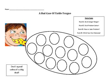 A Bad Case Of Tattle Tongue tattling coloring sheet