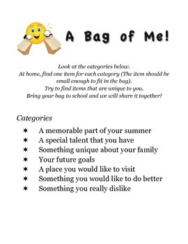 A Bag of Me - First Days Activity