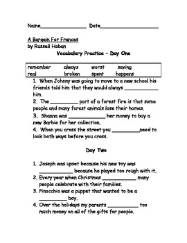 A Bargain for Frances Vocab Practice and Test