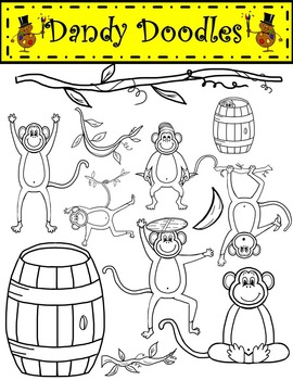 A Barrel of Monkeys Clip Art by Dandy Doodles
