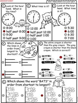 A+  Bat Math: Clocks and Measurement