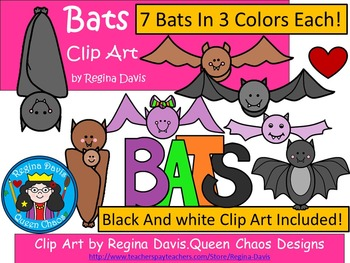 A+ Bats Clip Art...Color And Black And White Included
