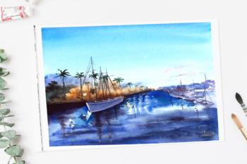 A Bay View Watercolor Print