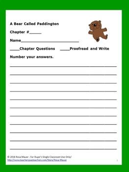 A Bear Called Paddington Book Unit