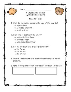 A Bear Named Trouble Chapter Quiz, Study Guide, & Test Pack
