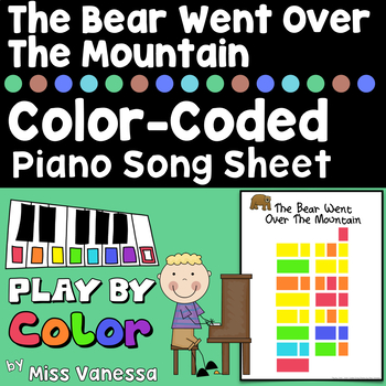 The Bear Went Over The Mountain Easy-To-Play Color-Coded Piano Song Sheet